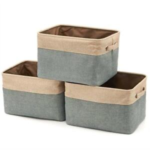 NEW Collapsible Storage Bin Basket [3-Pack] EZOWare Foldable Canvas Fabric Tweed Storage Cube Bin Set With Handles - ...