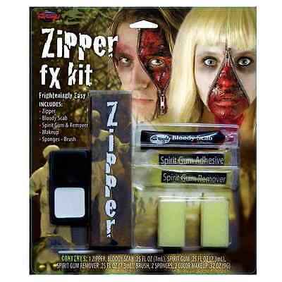 Zipper FX Kit Scab, Spirit Gum & Remover Zombie Halloween Special Effects Makeup (Zombie Makeup Spirit Halloween)
