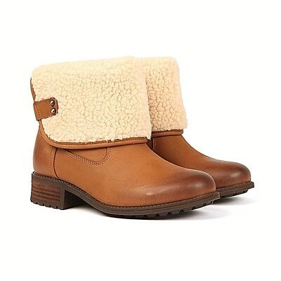 Ugg Women Brown Aldon WARM FAUX FUR LEATHER Boots WINTER New Box GIFT SIZE 4.5 for sale  Shipping to Ireland