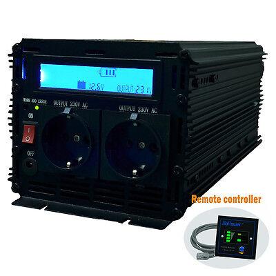 Spannungswandler 12V auf 230V 2000W/4000W Wechselrichter (Inverter) LCD-Anzeige