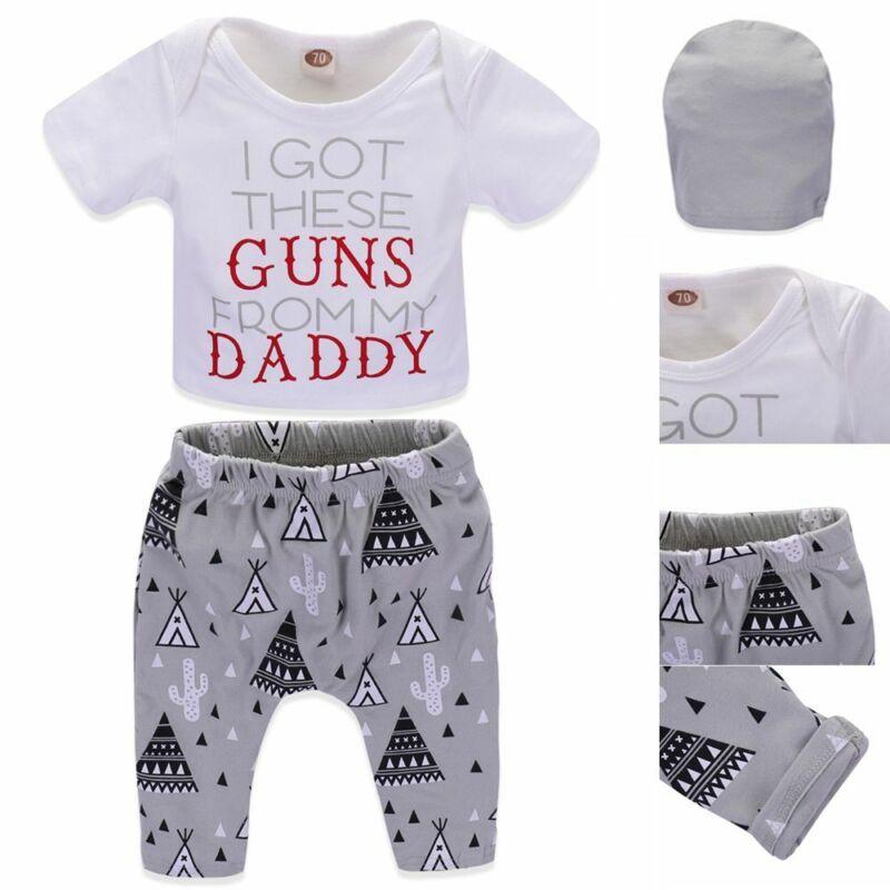 Baby Letter Print Tops Geometric Long Pants T-Shirt+Hat Boys Girls Clothing