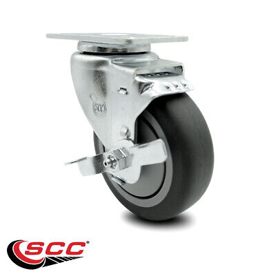 Thermoplastic Rubber Swivel Top Plate Caster - 4 Wheel Brake