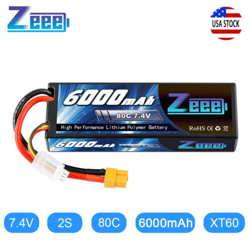 Zeee 80C 6000mAh 7.4V 2S XT60 Plug Hardcase LiPo Battery for