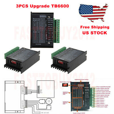 3pcs Cnc Single Axis Tb6600 Stepper Motor Driver Controller 4a Microstep 9-42vdc