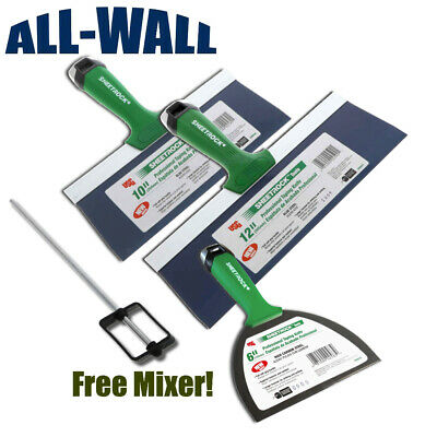 Usg Sheetrock Pro Drywall Taping Knife Set 6-10-12 Matrix Style Grip Free Mixer