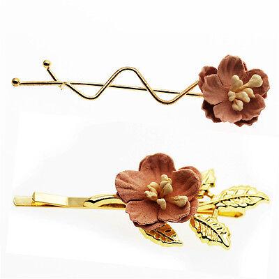 Paar Toll Rosa Blumen Damen Mädchen Slip Haarspange Stifte für Hochzeit HA281