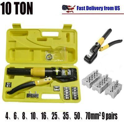 10 Ton Hydraulic Wire Cable Terminal Crimper Crimping Tool Pliers Set W 9 Dies
