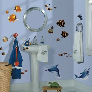 24 New TROPICAL FISH WALL DECALS Dolphins Stickers Beach Home Ocean Sea  Decor