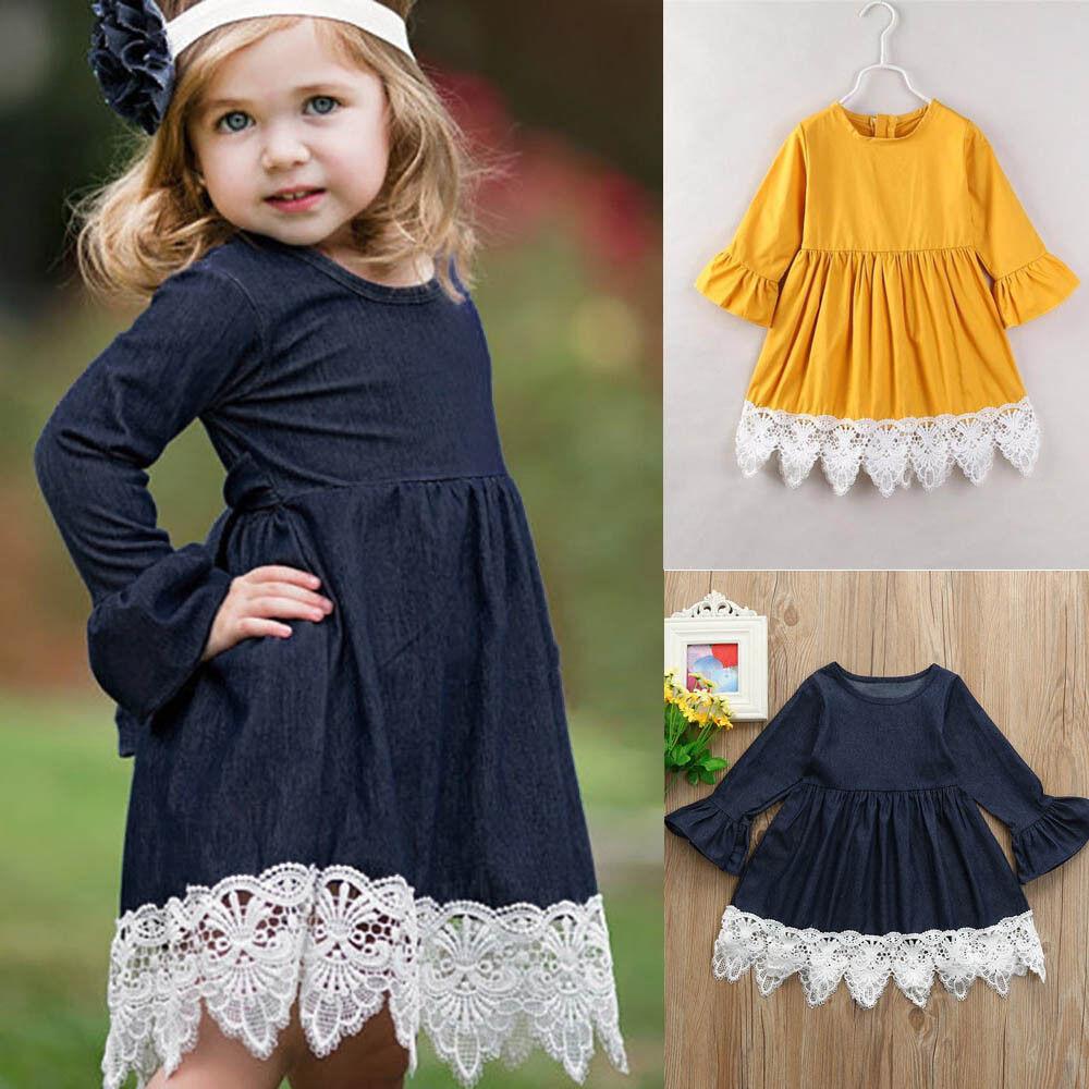 Toddler Newborn Baby Girls Denim Flare Sleeve Lace Splice Sundress Dress Clothes