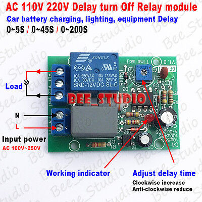 Ac 110v 220v Adjustable Cycle Delay Time Timer Turn Onoff Relay Switch Module