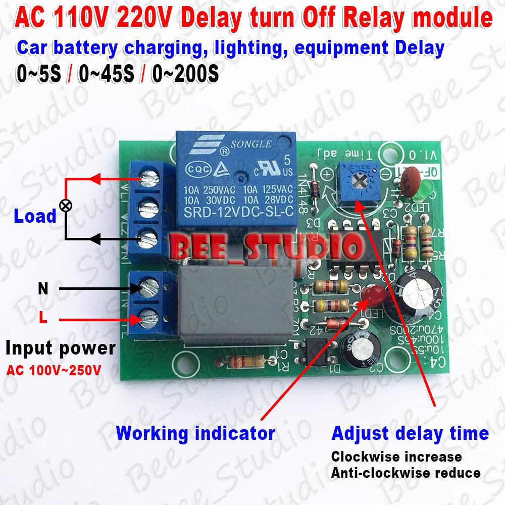 Ac 110v 220v Adjustable Delay Time Timer Control Turn Off