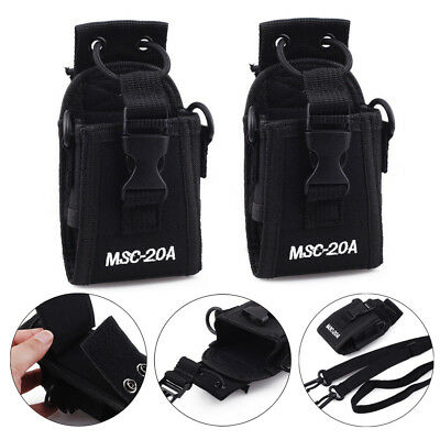 2 Pack Black Radio Case Belt Holster 2-way Police Walkie Talkie For Baofeng Icom