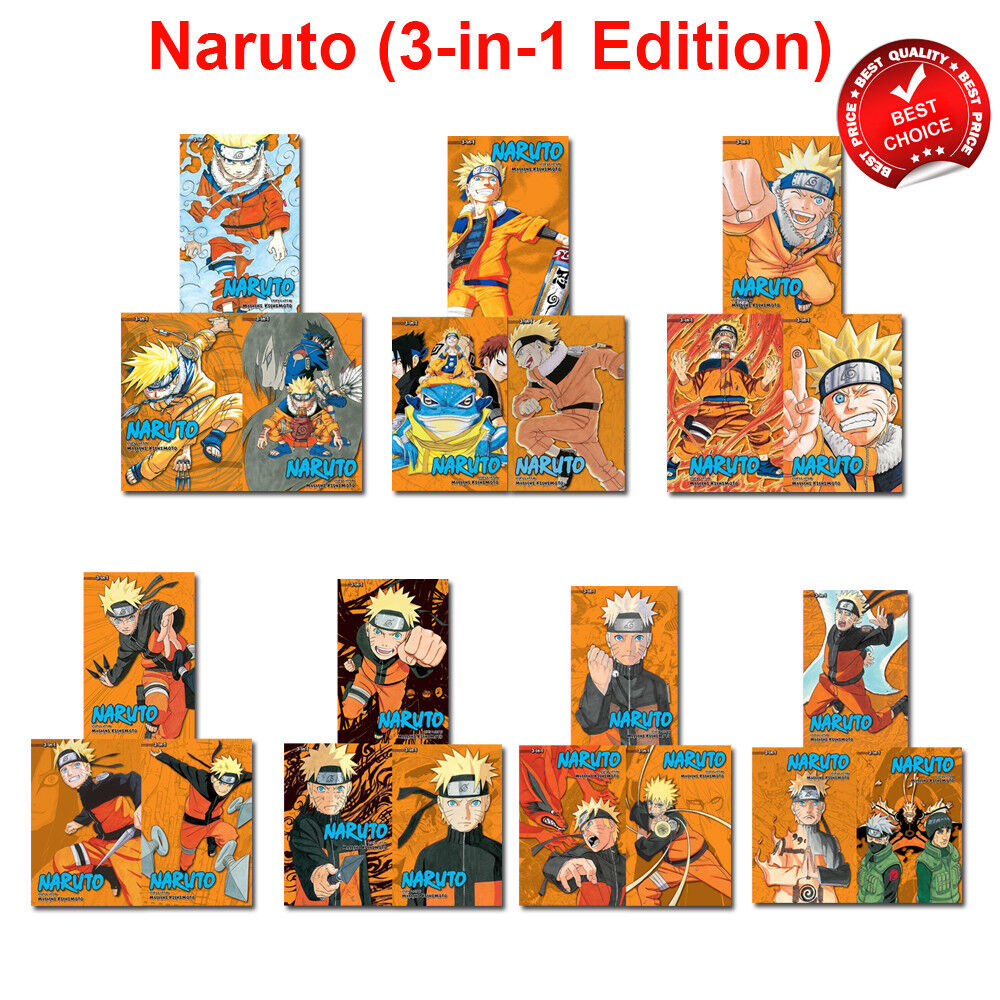 Naruto (3-in-1 Edition) Vol.1-22 Books Collection Set by Masashi Kishimoto Pack