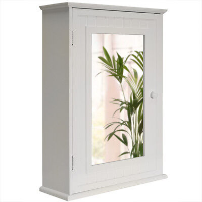 Shaker Wall Mounted White Mirror Bathroom Storage Cabinet - BA4050