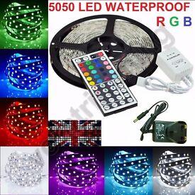 5M 300LED 5050 SMD Strip Lights RGB Mood Lamps IP65 Tape + Remote + 12V Adapter