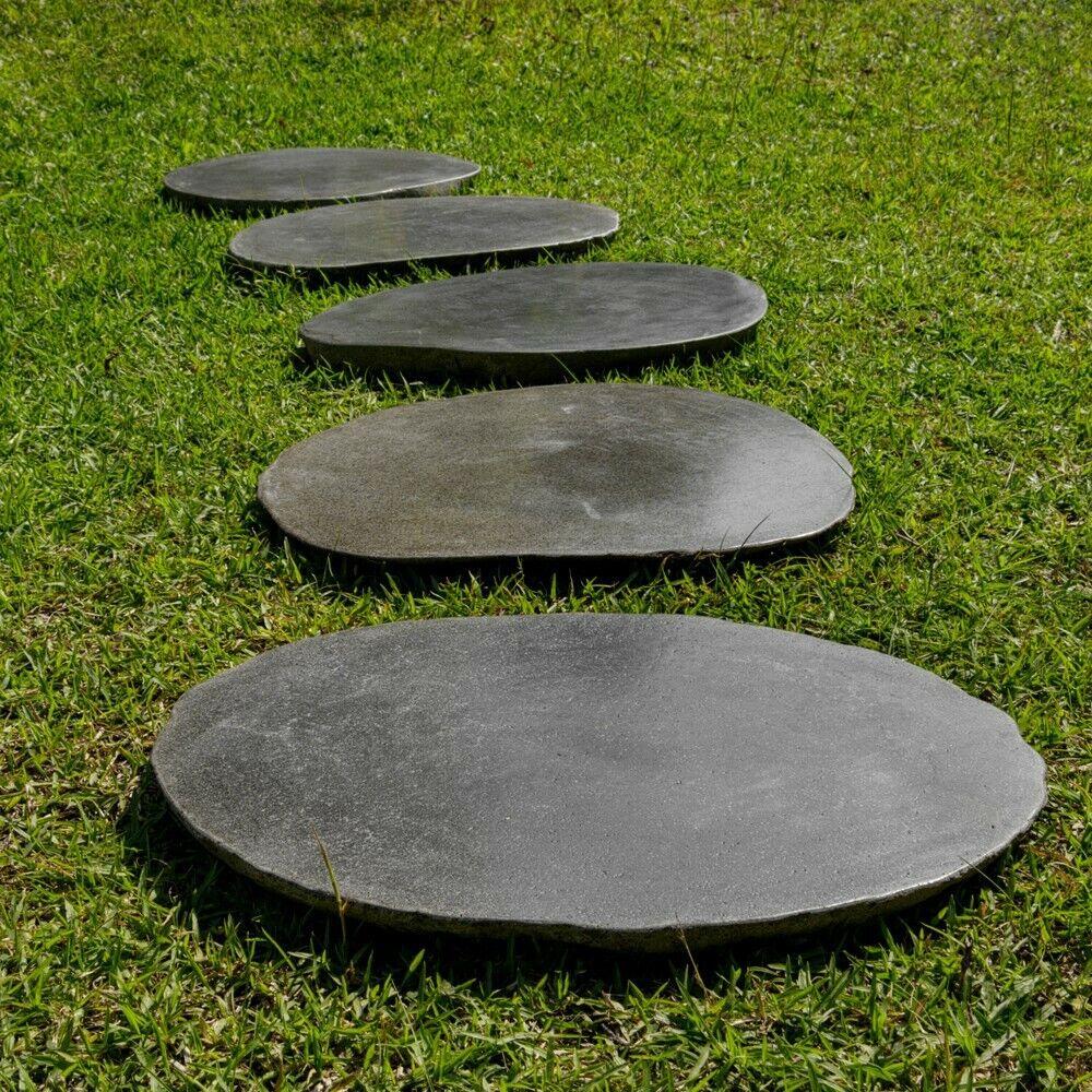 WOHNFREUDEN 2er Set Naturstein Trittsteine 45-50cm Stein Flussstein Trittplatten