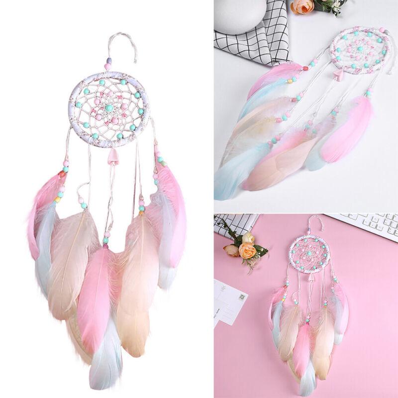 Handmade Dream Catcher Net Feather Bedroom Car Wall Hanging Decor Kids Gift Pink
