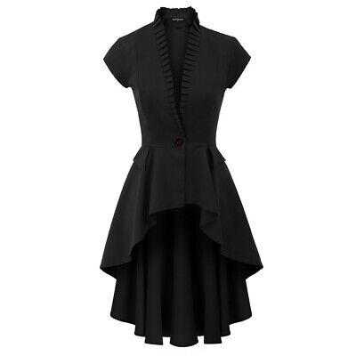 Steampunk Coat Women Long Jacket Ruffles Rave Victorian Costume Scarlet Darkness