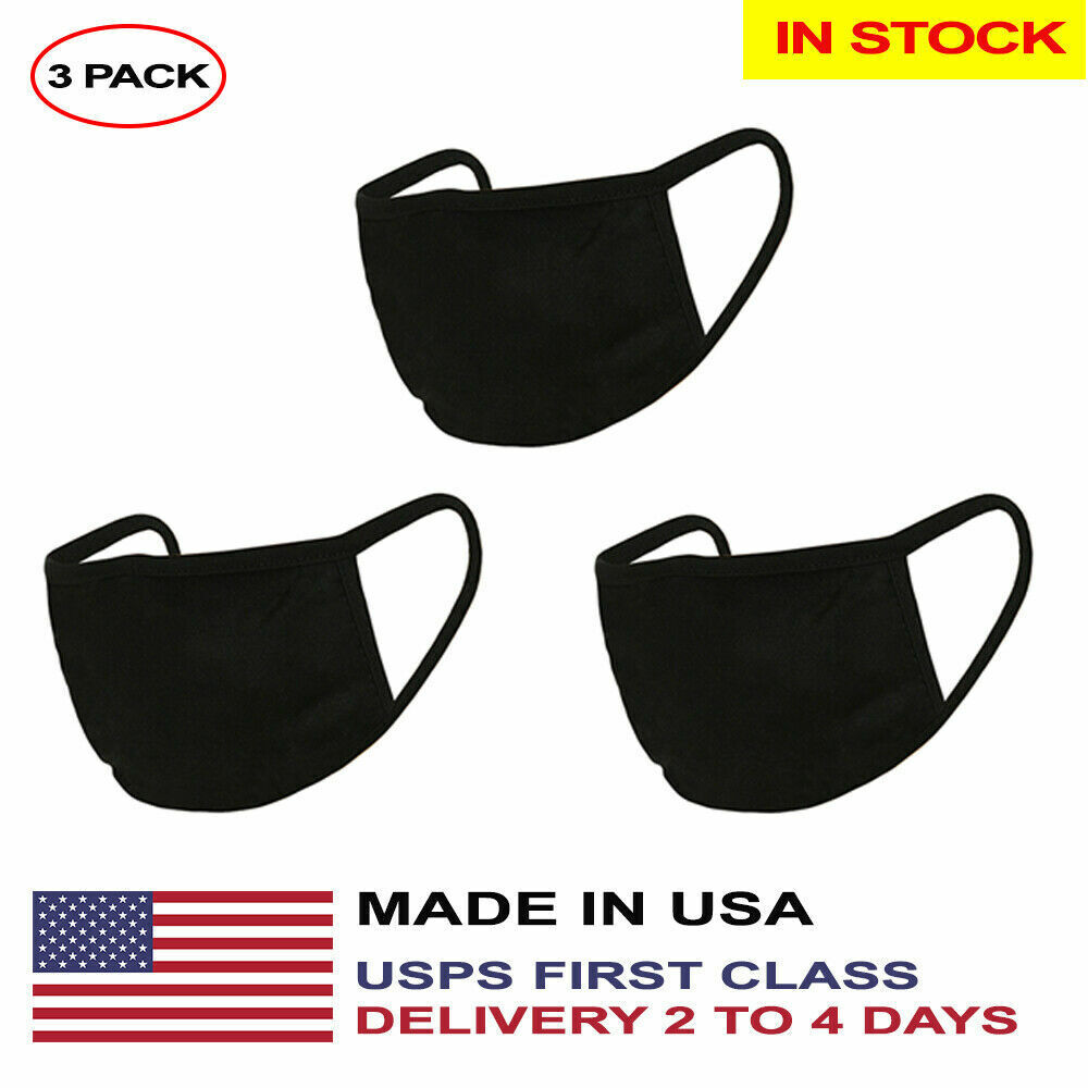 USA Washable Reusable Cotton Face Mask – Mouth Cover In Stock USA – 3 Pack Black Accessories