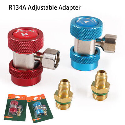 """90° Adjustable AC R134A Adapter Fittings Quick Coupler 1/4"""" SAE HVAC Connector"""
