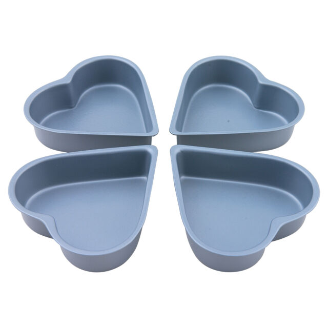 Bakers Pride Non Stick Heart Shaped 10cm Cake Pans Tins Set of 4 Valentine New