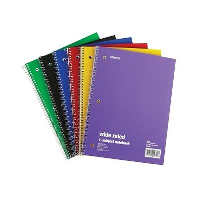 Staples 1 Subject Notebook 8 X 10.5 Wide Ruled 70 Sheets Assorted 6pk 201350