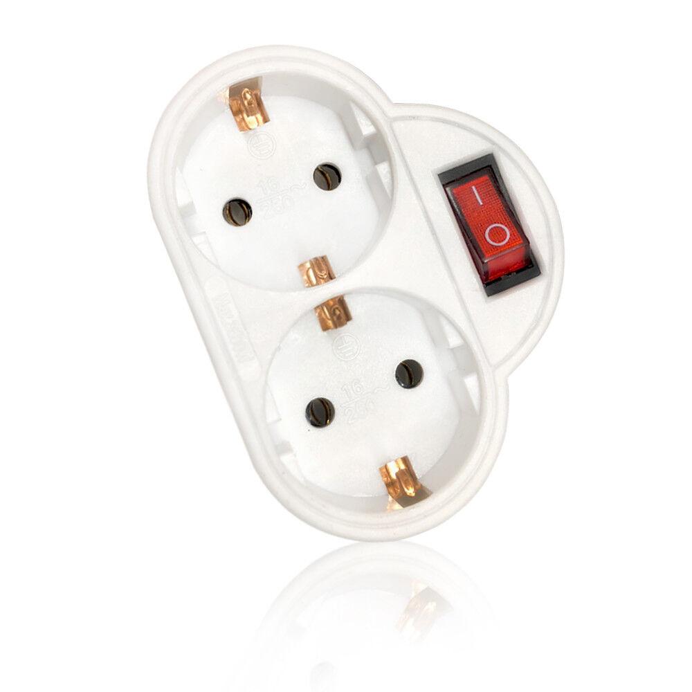 Doppelstecker mit Schalter, Mehrfachsteckdose, Steckdosenadapter Schutzkontakt