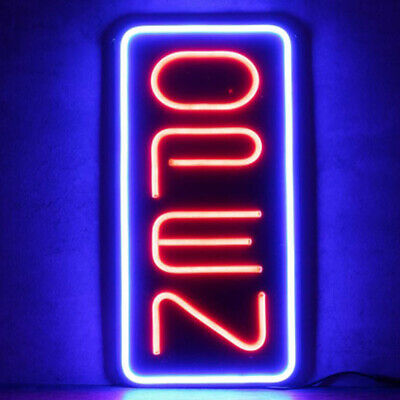 Big Neon Open Sign 24x12 Inch Led Light 30w Vertical Hanging Chain 12v Redblue