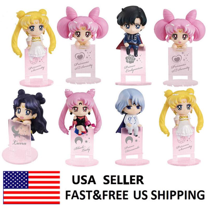 Sailor Moon Tsukino Usagi Mizuno Ami Hino Rei Aino Minako Action Figure Toy 8PCS