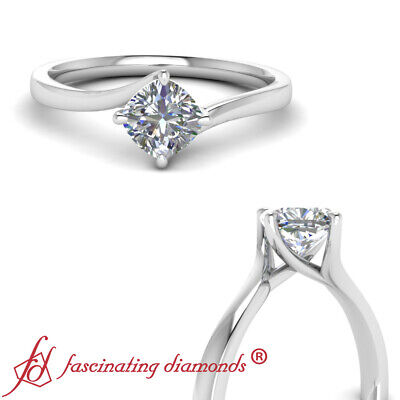 White Gold Solitaire Engagement Ring With Cushion Cut Diamond Center 0.90 Ctw
