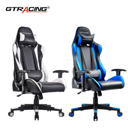 Gaming Chair Racing Rocker Office 170° Lying Leather Reclin