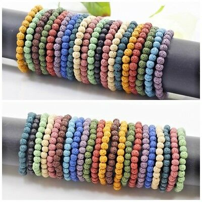 Handmade Stone Lava Round Bead Bracelet Elastic Stretch Bangle 6mm 8mm 10mm (Elastic Stretch Bracelet)