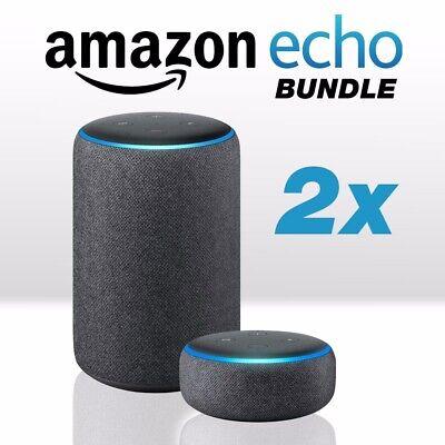 BUNDLE Amazon echo AND echo dot 3rd generation smart speakers charcoal Alexa