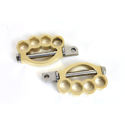 V-Twin Mfg. Brass Knuckle Foot Peg Set for Harley Dyna Sportster Softail -