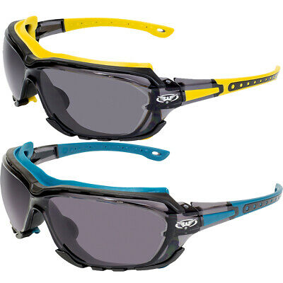 2 Pairs Of Global Vision Octane Safety Glasses Yellow Blue Gaskets Smoke Lens
