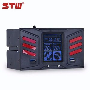 LCD Panel Fan Speed Controller CPU HD USB 3.0 Temperature Sensor PC Computer