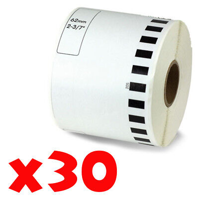 30 Roll 2-716 X 105ft 62mm Dk-2205 Continuous Label Compatible Brother Ql-570