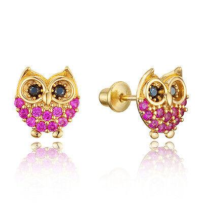 14k Gold Plated Brass Children Baby Owl Screwback Girls Earrings w Silver Post