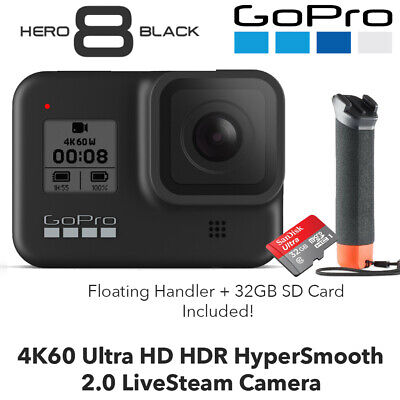 GoPro HERO8 Black 4K60 Ultra HD Livestream Camera + 32GB SD + Floating Handler