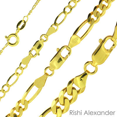 (14k Gold over 925 Sterling Silver Figaro Mens Boys Chain Necklace All Sizes)