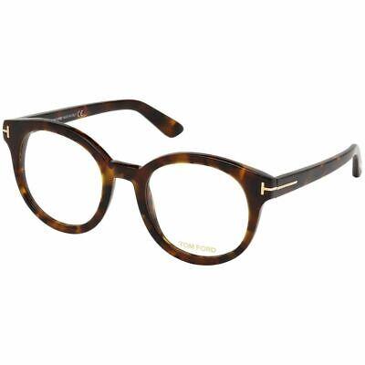 New Authentic Tom Ford Women's Round Eyeglasses Havana w/Demo Lens FT5491 055