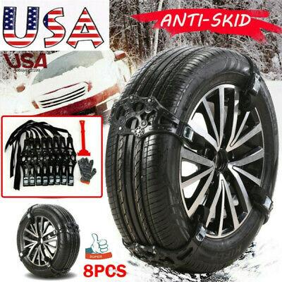 8 PCS Snow Tire Chains Car Truck SUV Anti-Skid Emergency Winter Driving TPU US