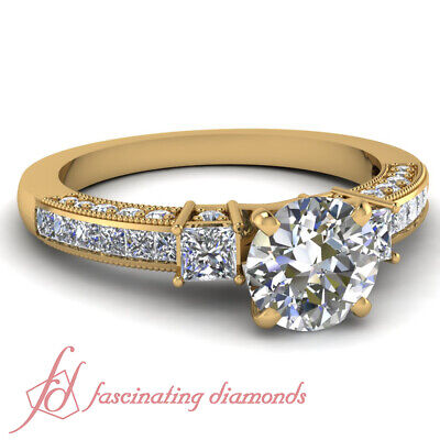1.75 Carat Round Cut And Princess Diamond Engagement Rings For Women Yellow Gold