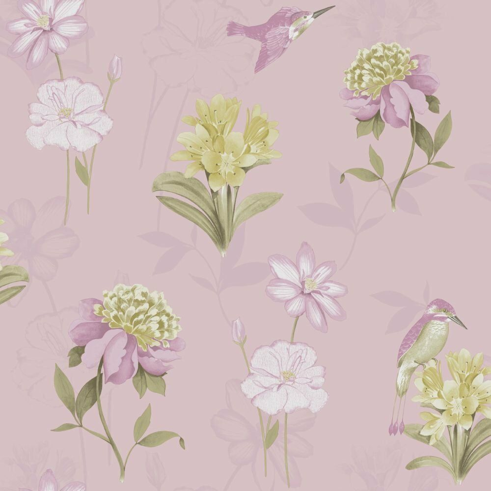 New 5 Rolls Wallpaper Dusky Pink Kingfisher Flowers In Beith