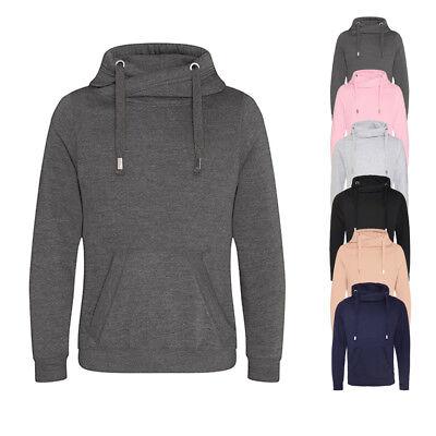 Just Hoods Herren Sweatshirt CROSS NECK HOODIE Pullover S M L XL XXL Neu JH021 (Cross Sweatshirt Herren)