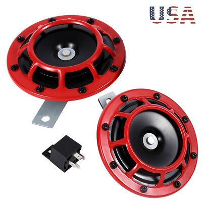 2 Red Grill Super Loud Blast Tone Compact 12V Electric Horn Kit For Car Truck Us