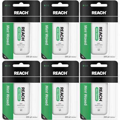 6 Pack Reach Mint Waxed Dental Floss - 200 yard Each