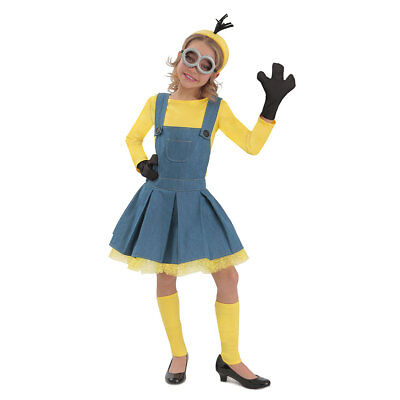 Girls Deluxe Despicable Me Minion Jumper Halloween Costume](Minion Halloween Costume Girls)