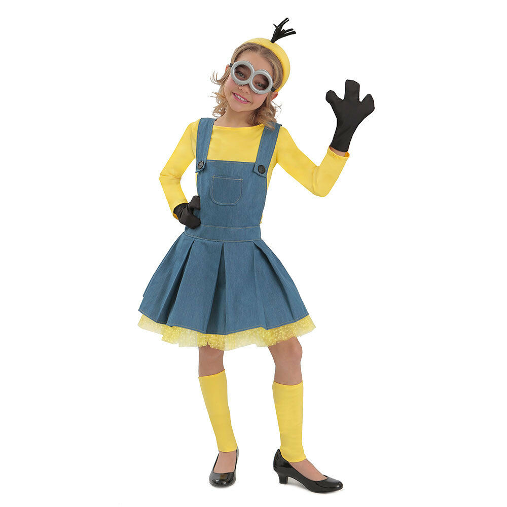 Girls Deluxe Despicable Me Minion Jumper Halloween Costume
