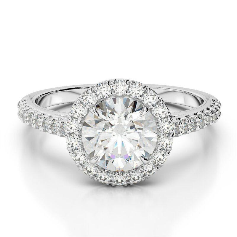 Elegant 3.25 Ct D Vs2 Halo Round Cut Diamond Ring 14 Karat White Gold New
